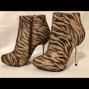 Qupid zebra print bootie